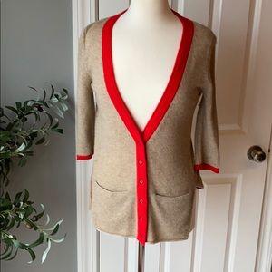QI Cashmere V Neck Button Cardigan Red Tan XS